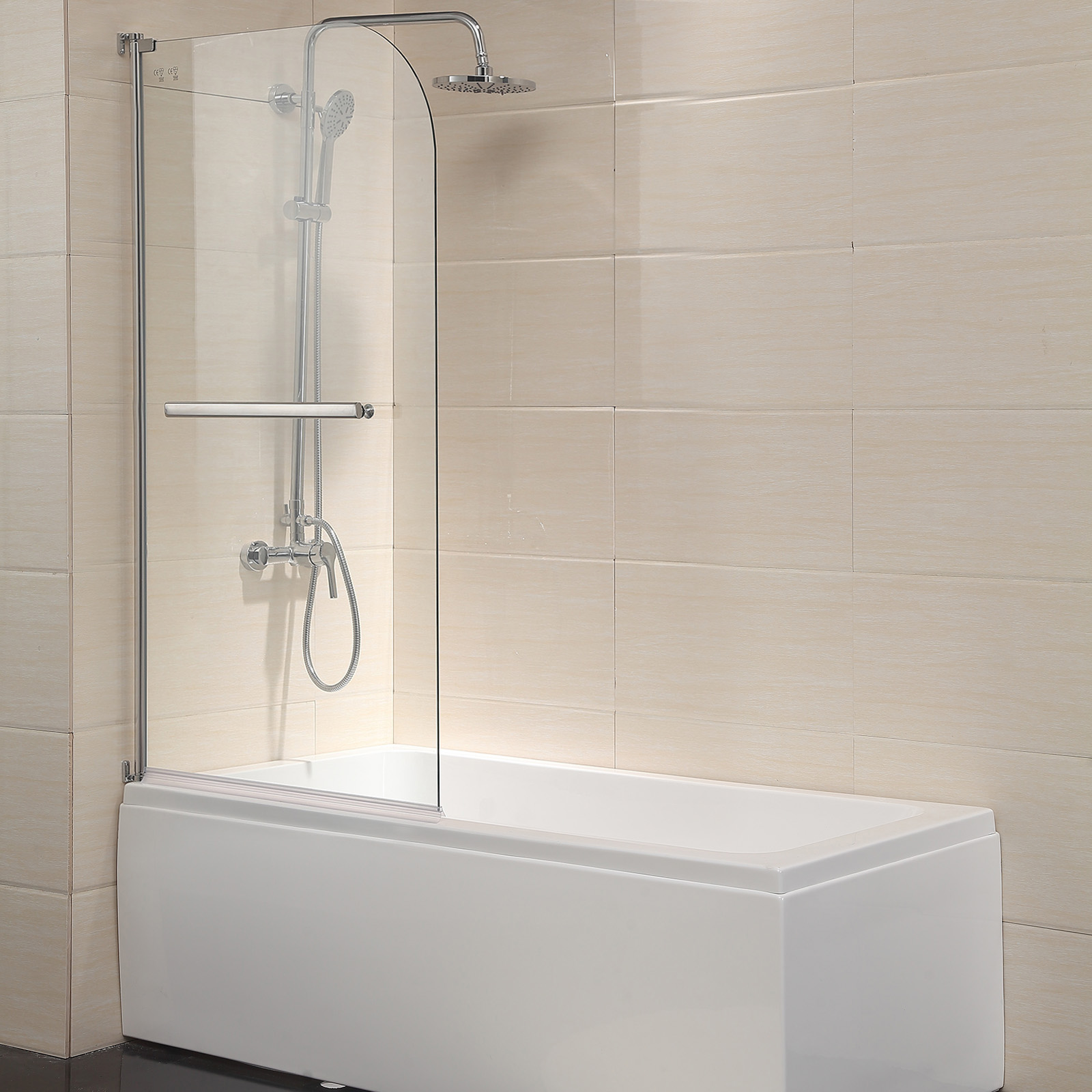 Details About Kenwell 55 X 31 Pivot Radius Frameless Bath Shower Door 1 4 Clear Glass Chrome
