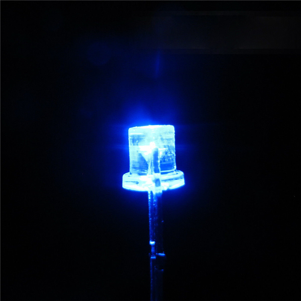 1000PCS 5MM 2Pin Flat Top Blue LED Wide Angle Flat Head Light Lamp M