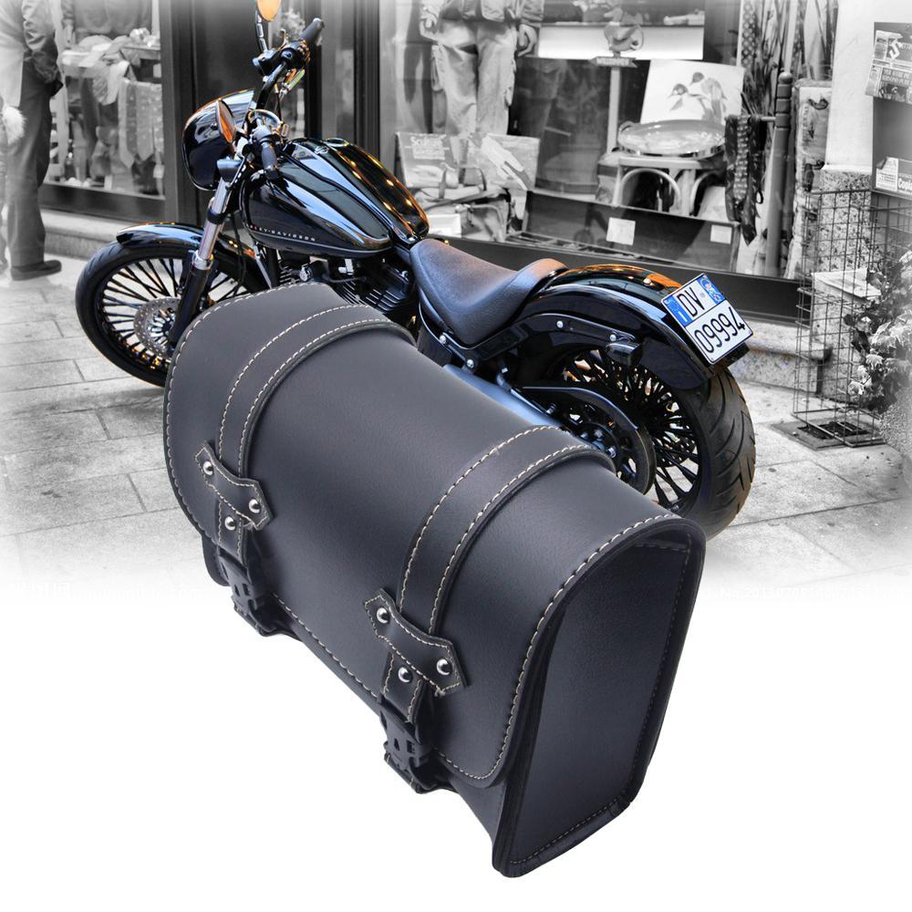 Pair motorcycle leather saddle tool bags saddlebags for Motor cycle saddle bags