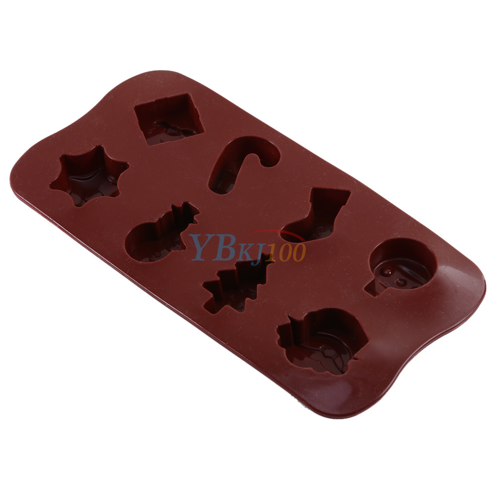 Xmas 3d chocolate mold fondant cake decorating sugarcraft for 3d printer cake decoration