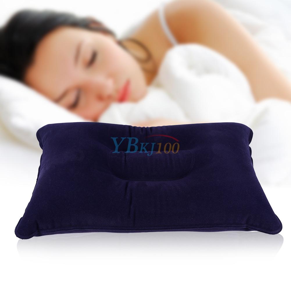 blue camping hiking travel sleeping bag folded air inflatable pillow cushion es ebay. Black Bedroom Furniture Sets. Home Design Ideas