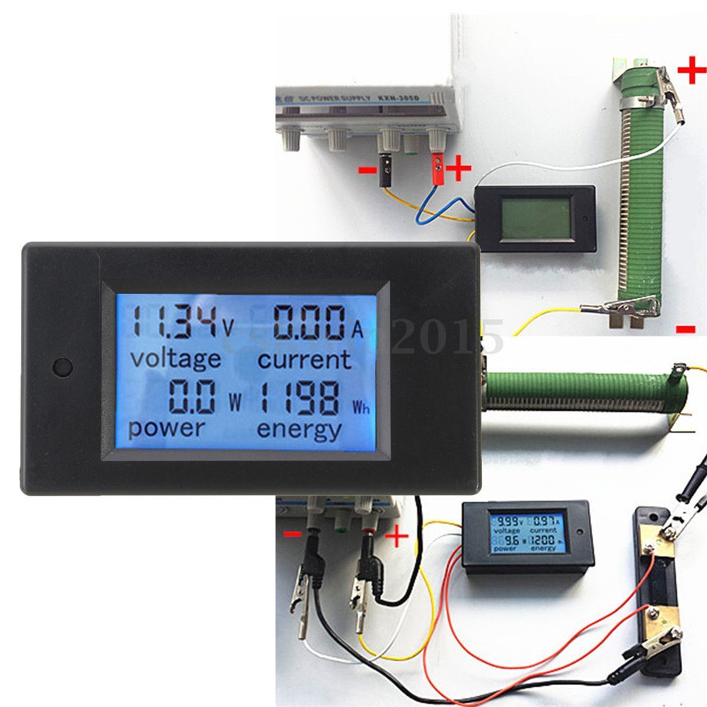 Battery Voltage Monitor : Dc a lcd combo meter voltage current kwh watt car