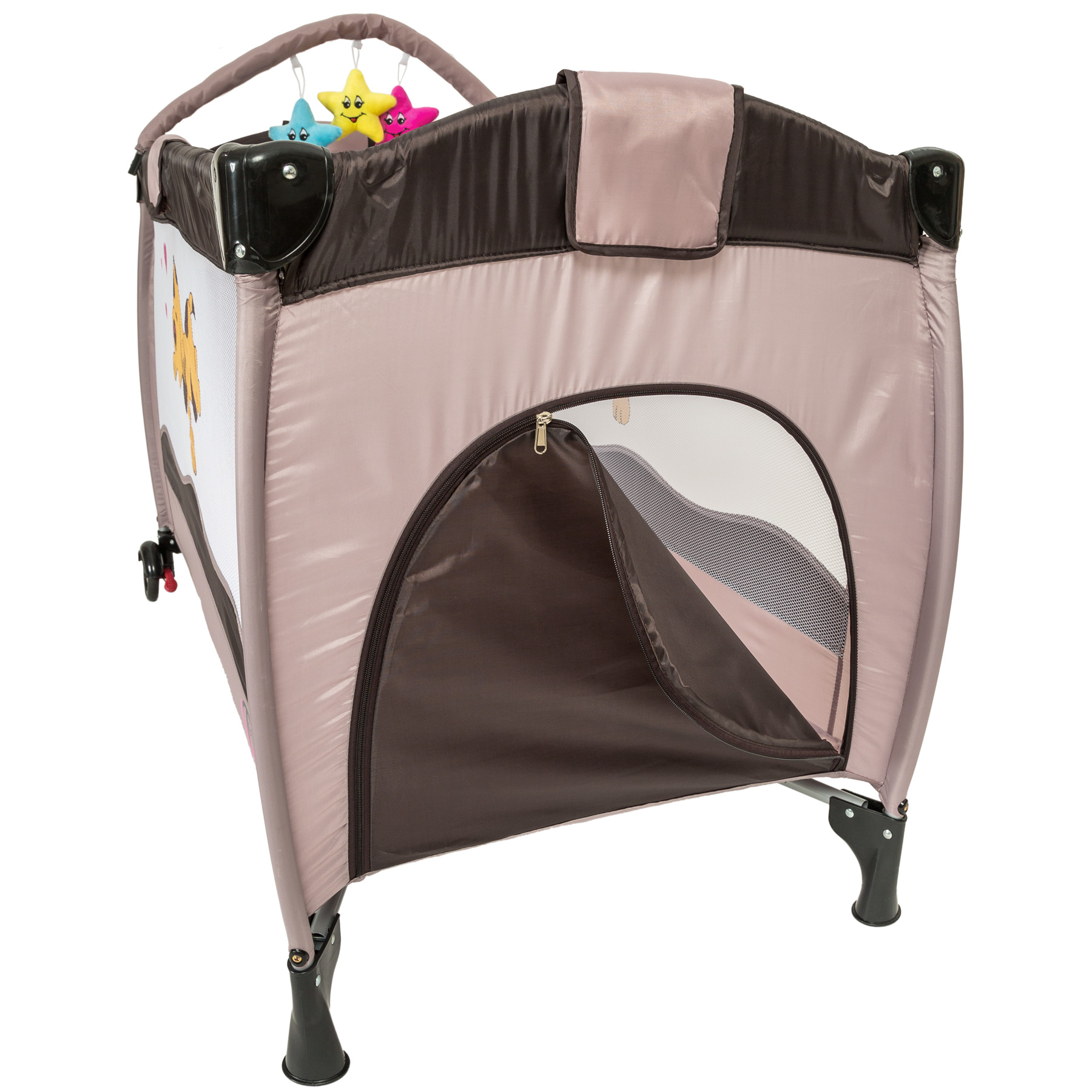 portable infant child baby travel cot bed playpen bassinet with entryway new ebay. Black Bedroom Furniture Sets. Home Design Ideas