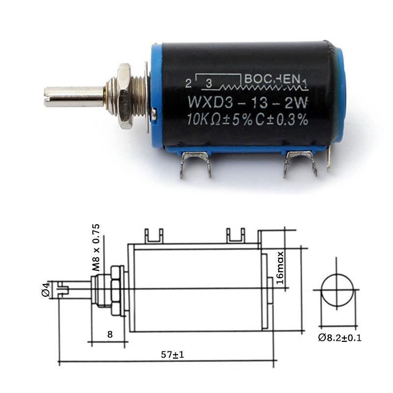 1pcs wxd3-13 2w 10k ohm multi turn wire wound control ... multi turn potentiometer wiring diagram for #1