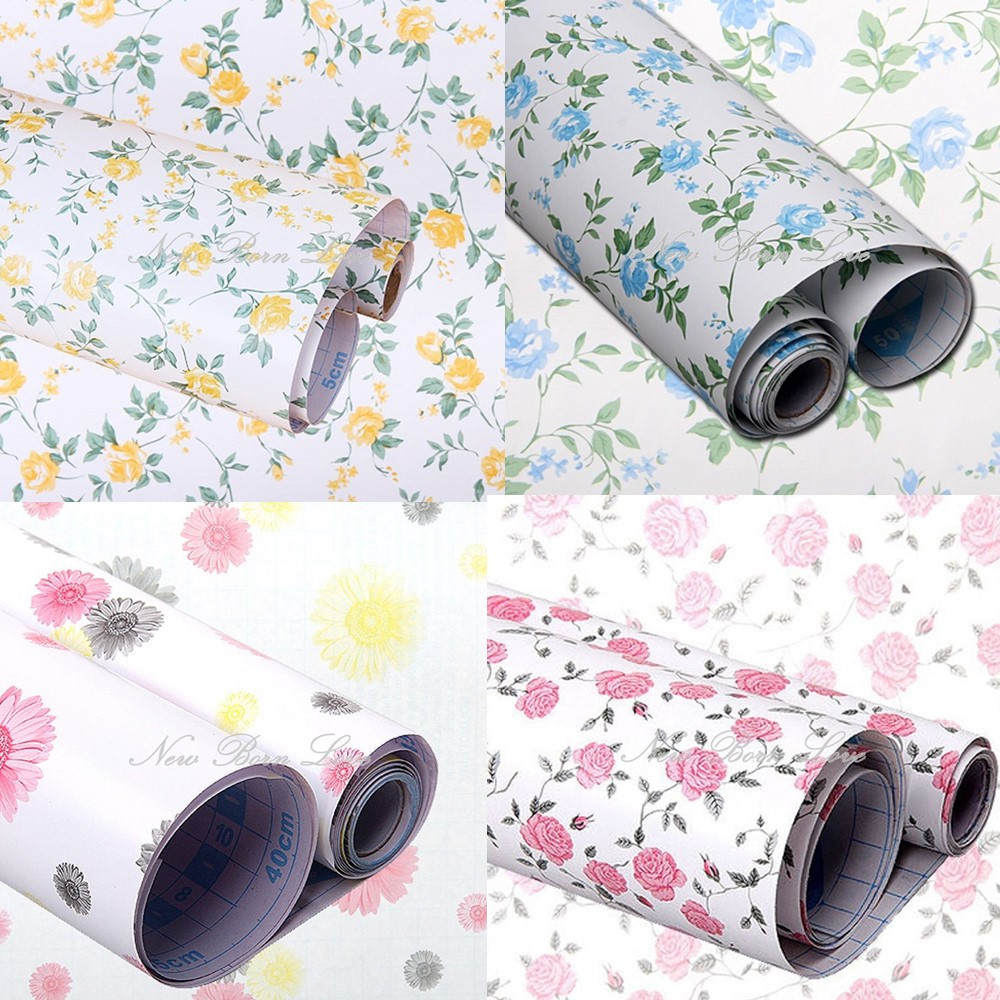 Floral Self Adhesive Contact Paper Shelf Drawer Liner