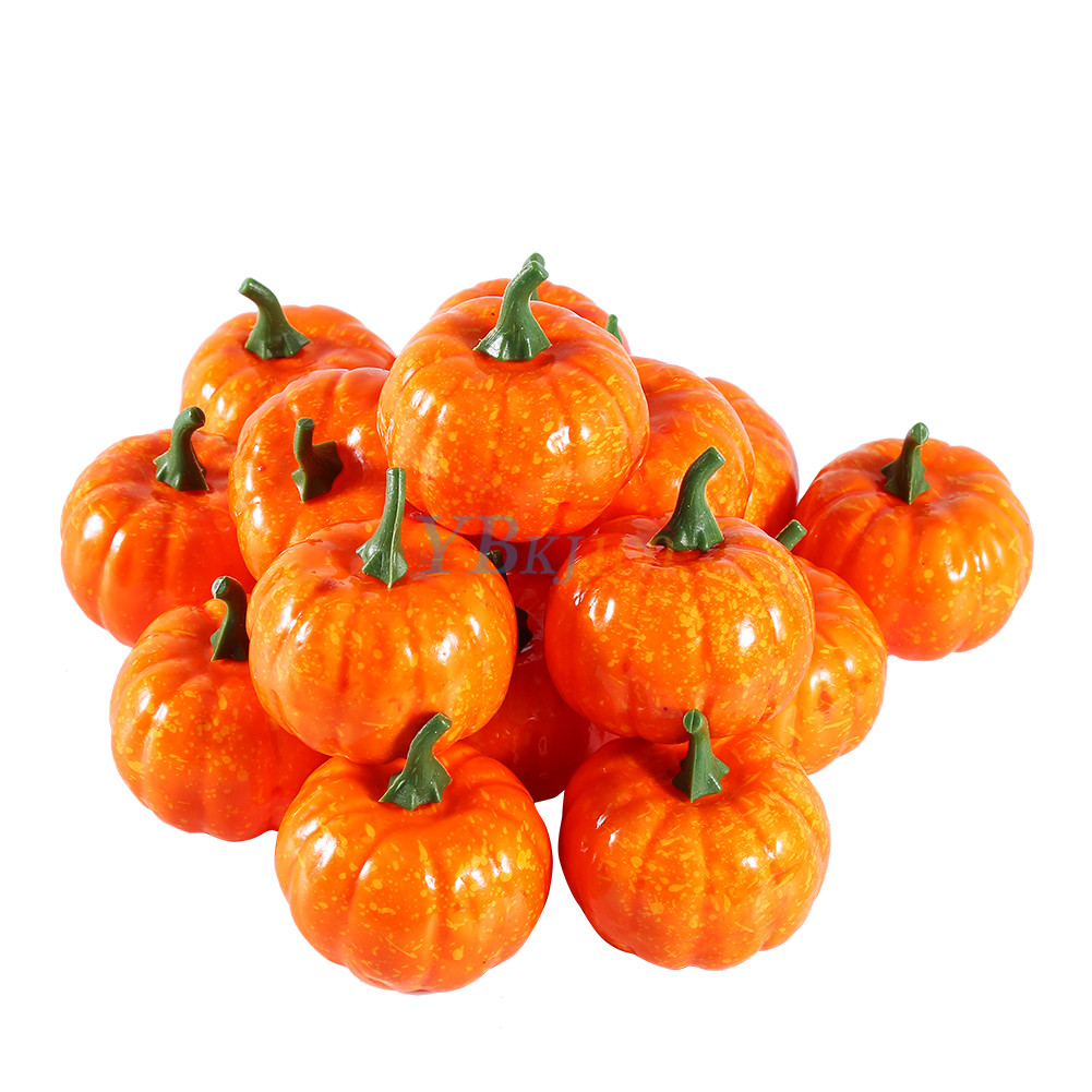 16x artificial small foam pumpkin festival halloween party for Art for decoration and ornamentation