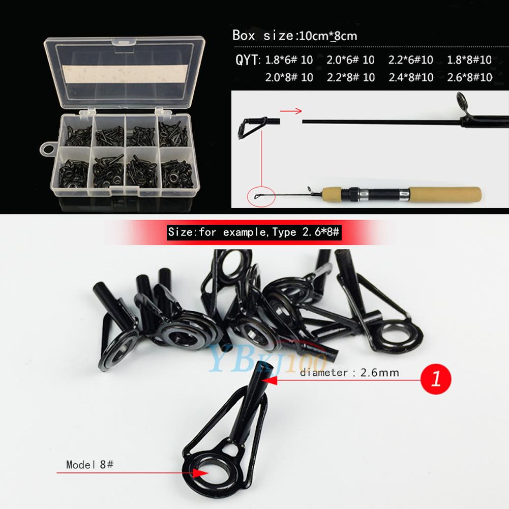 80pcs 8 size fishing rod guide tip top repair part fish for Fishing pole repair