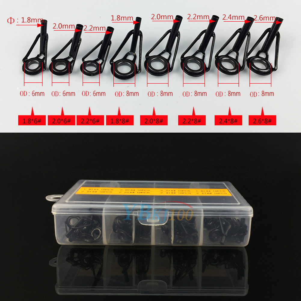 Durable 80pcs stainless steel fishing rod guide tip tops for Fishing rod eye repair kit