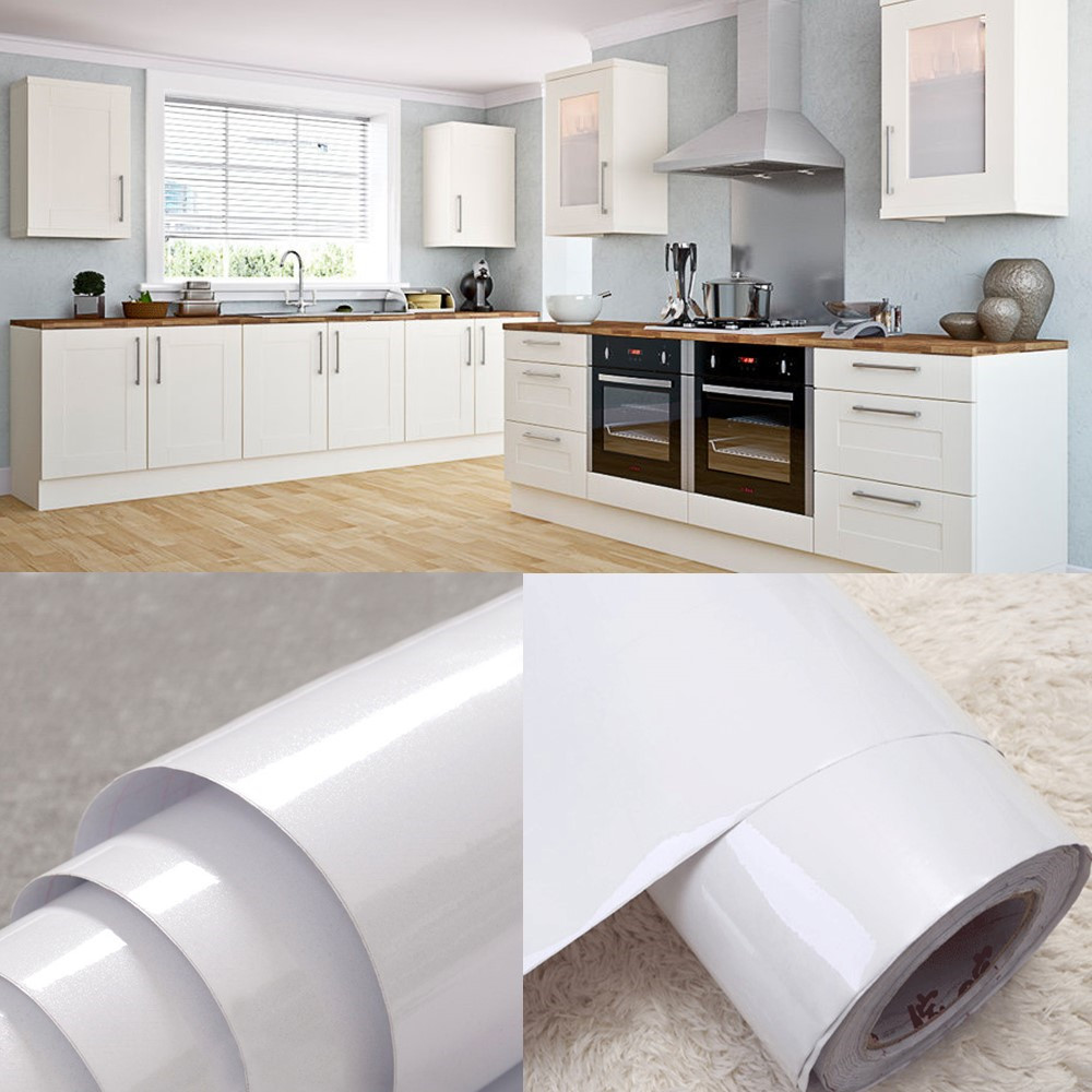 White Vinyl Kitchen Cupboard Door Cover Self Adhesive Protect Film Contact Paper