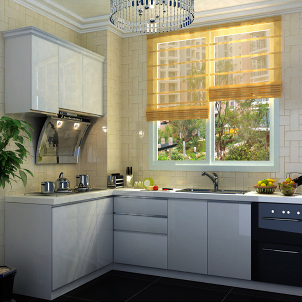 Yazi white kitchen cupboard cover self adhesive vinyl door for Adhesive covering for kitchen cabinets
