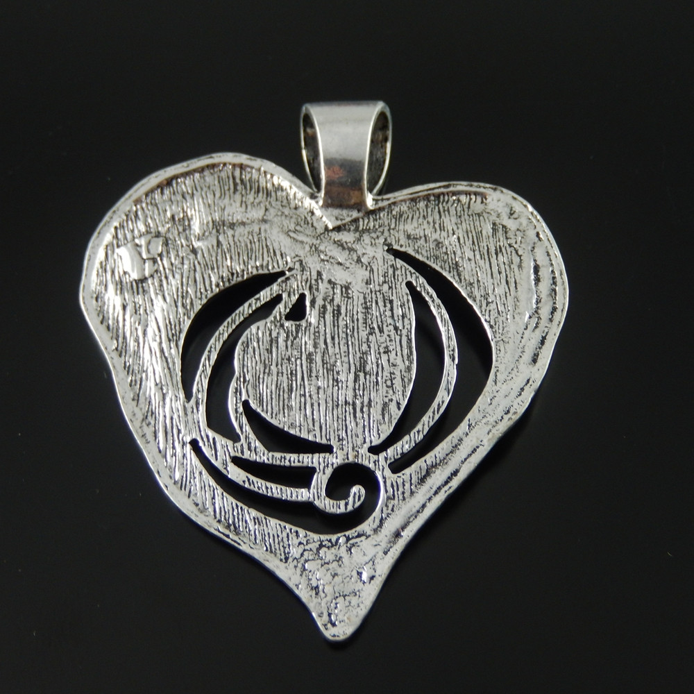 40pcs Vintage Silver Alloy Engraved Love Heart Pendants Charms Findings 50604