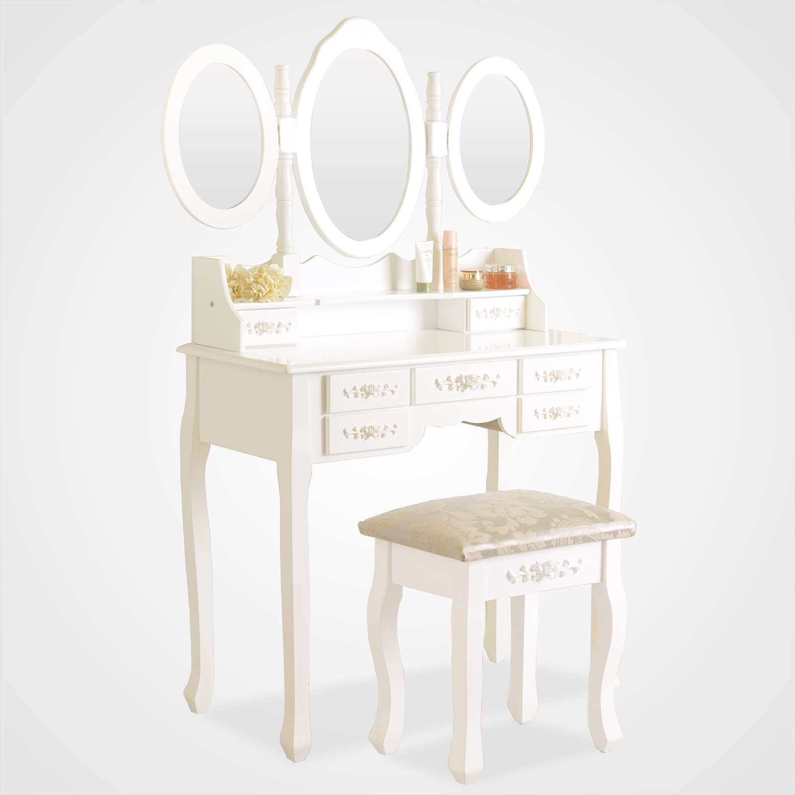white dressing table vanity makeup desk with 7 drawers 3 mirrors and stool. Black Bedroom Furniture Sets. Home Design Ideas