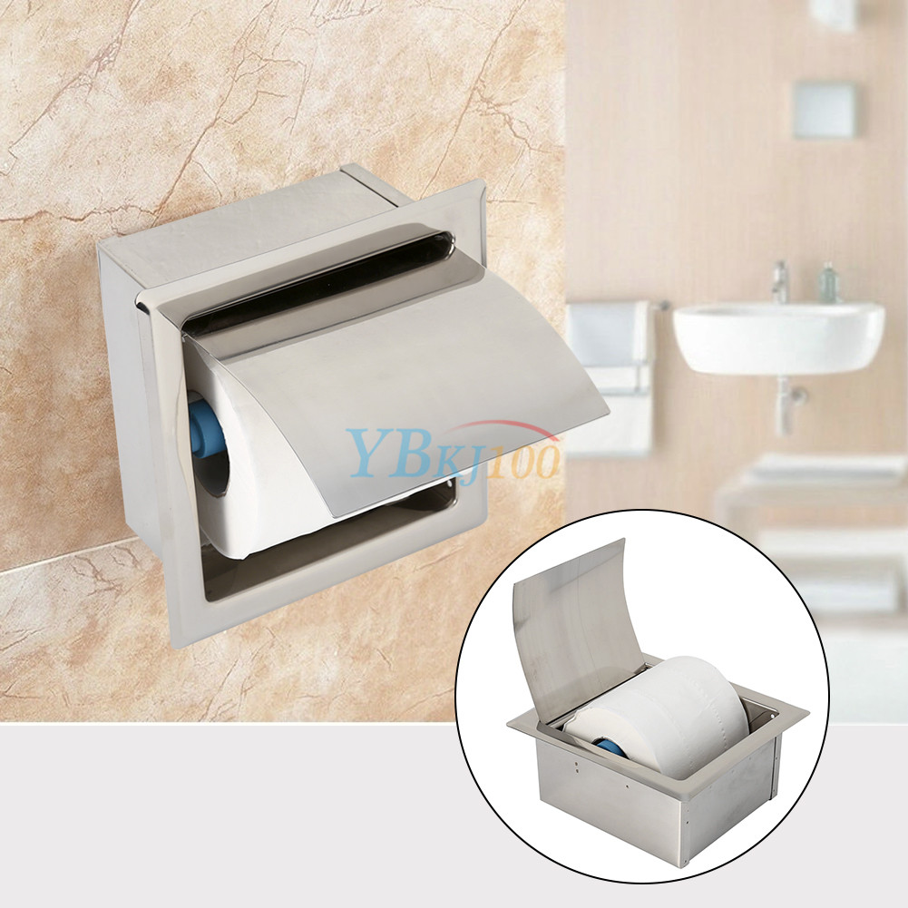 stainless steel bathroom toilet roll in paper holder tissue box wall mounted new. Black Bedroom Furniture Sets. Home Design Ideas