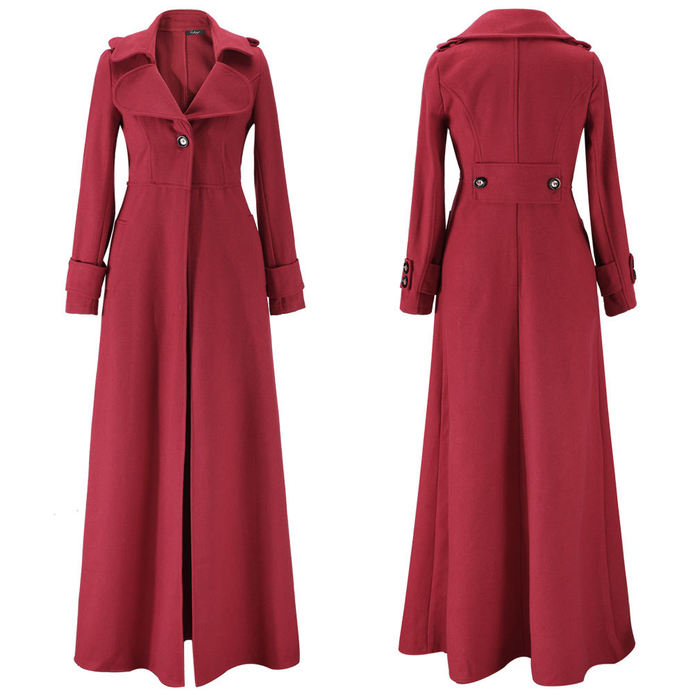 Fashion Women Wool Cashmere Winter Parka Long Jacket Coat Outwear ...