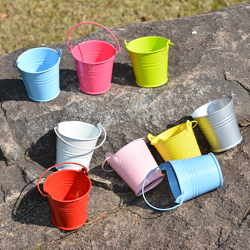 12x mini small metal pail bucket iron pails for flowers for Tiny metal buckets