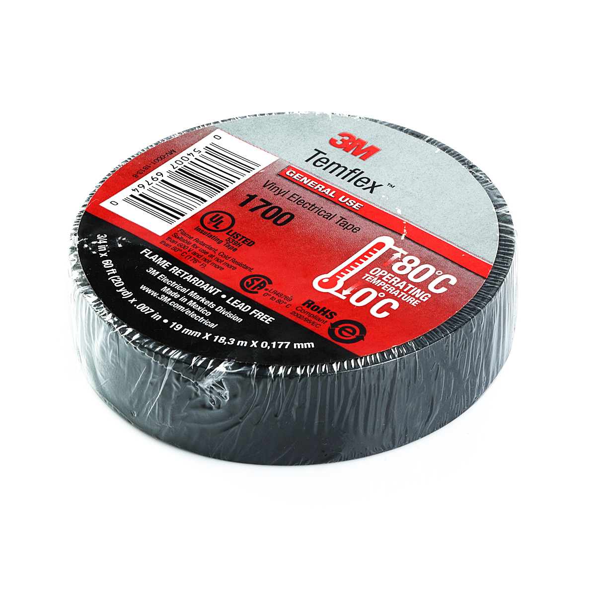 3m Black Electrical Tape Temflex 1700 3 4 Quot X 60 Ft 10
