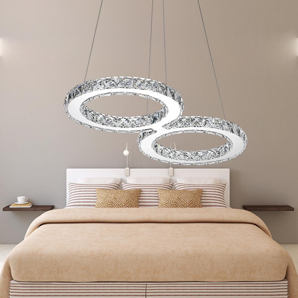 32w led kristall dimmbar h ngeleuchte deckenlampe pendelleuchte kronleuchter ebay. Black Bedroom Furniture Sets. Home Design Ideas