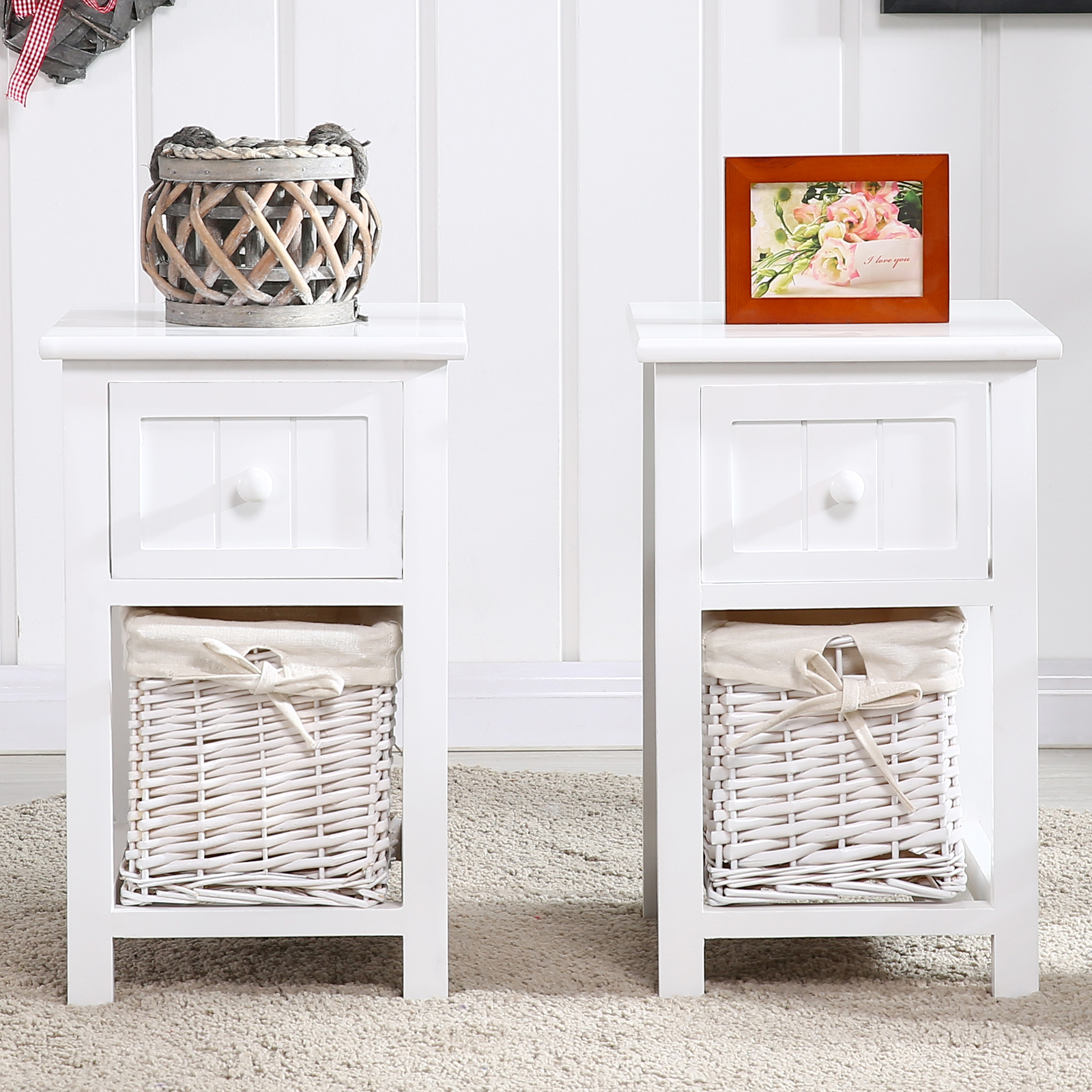 Kenwell Pair Of Wooden Shabby Chic Storage Bedside Table Units W/ Wicker