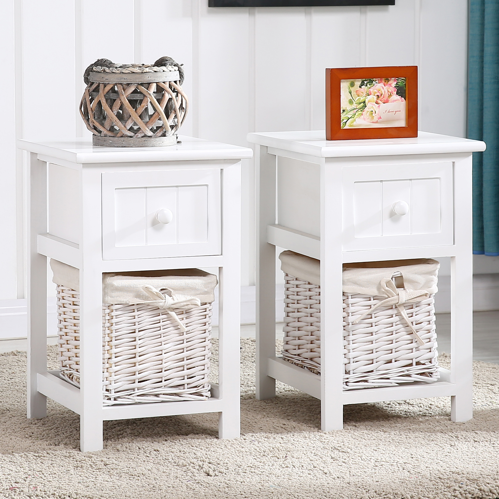Pair Of Retro White Chic Nightstand End Side Bedside Table