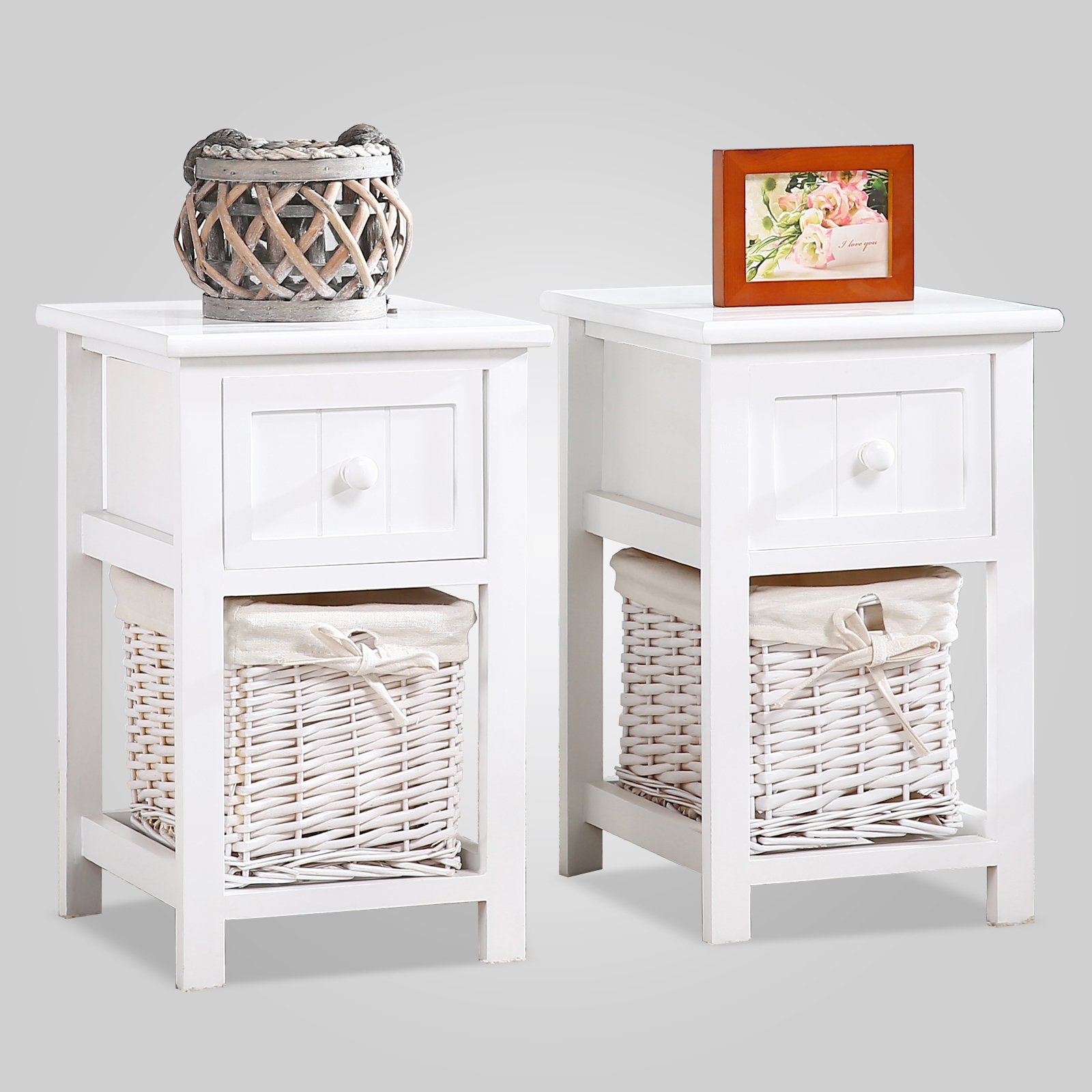 Pair of Retro White Chic Nightstand End Side Bedside Table w Wicker Storage Wood