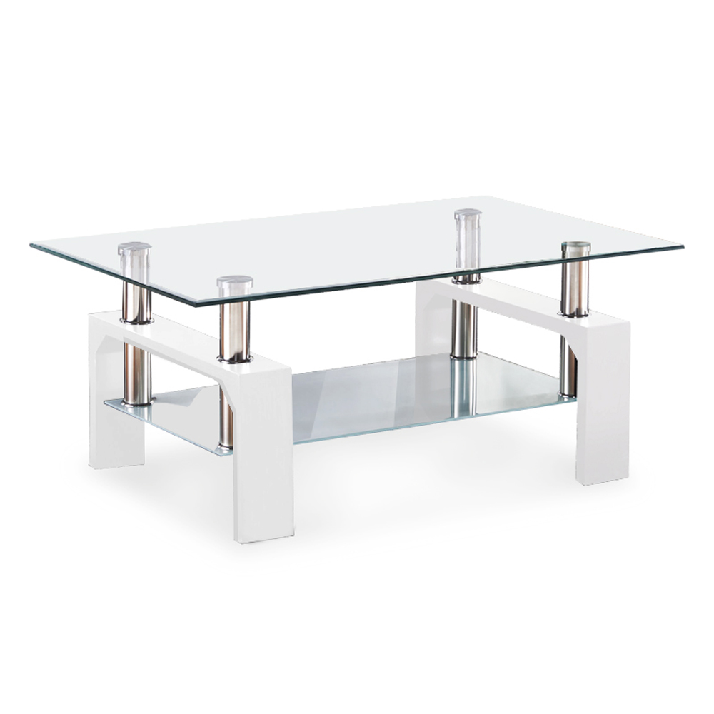 Glass Coffee Table Set Modern White Rectangular Wood