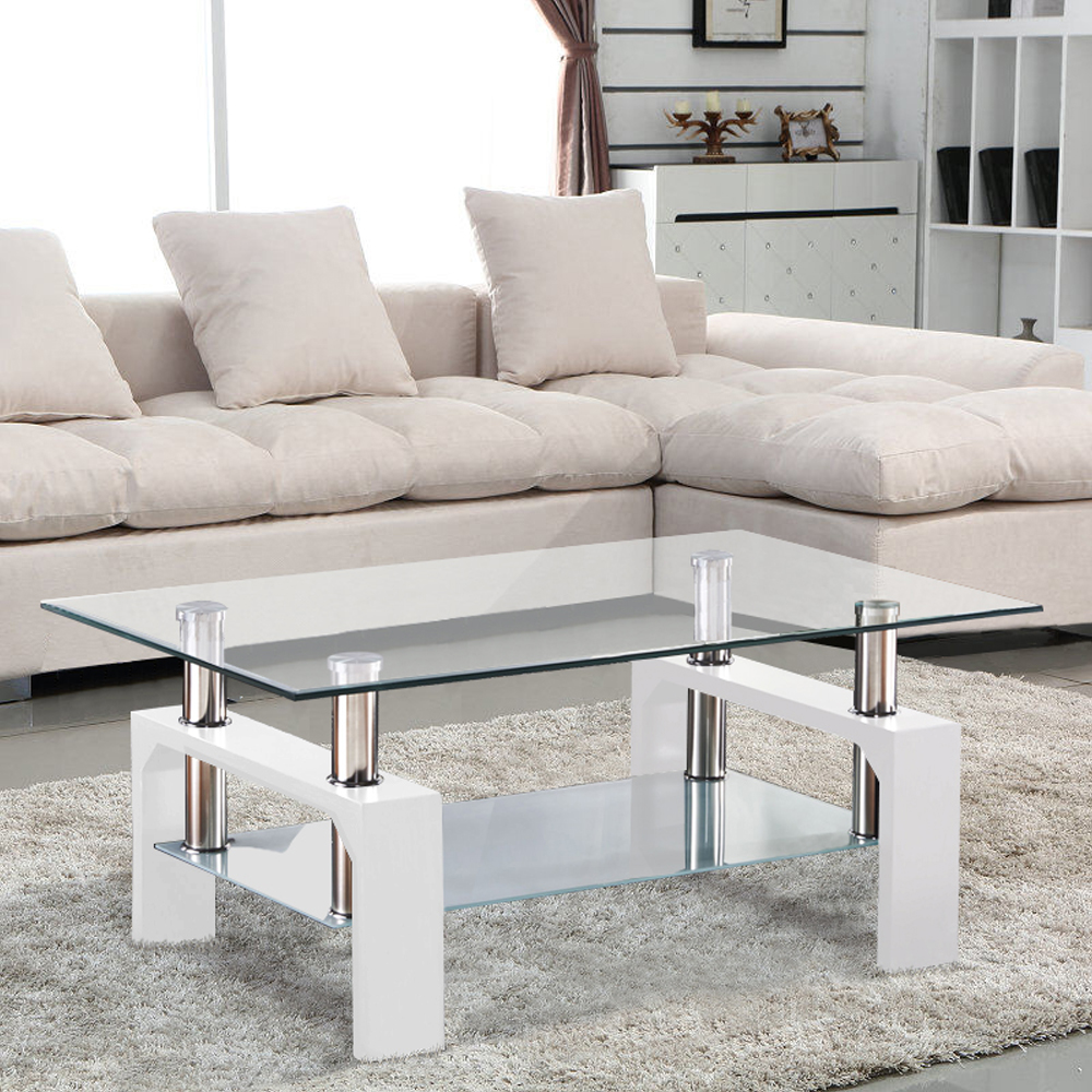 White coffee table glass rectangular shelf chrome wood - White wooden living room furniture ...