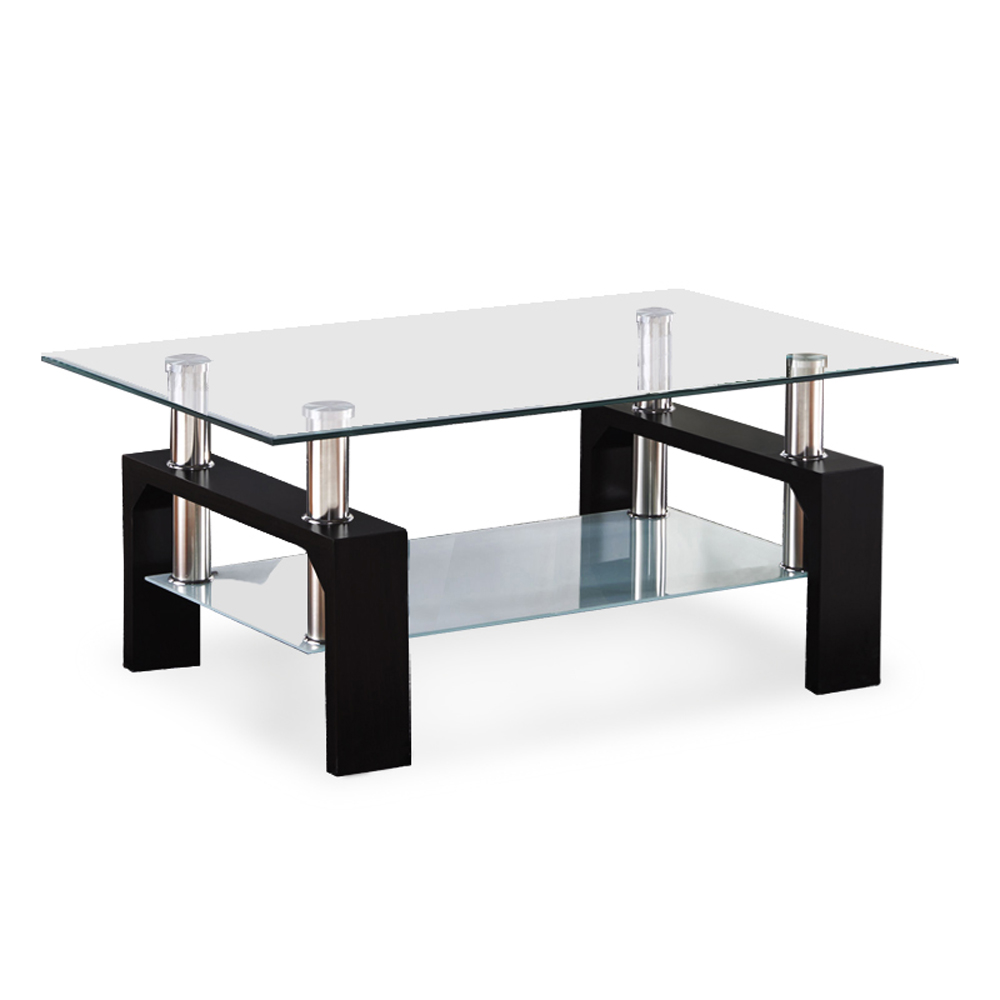 Quality Glass Rectangular Coffee Table Black White Walnut Legs With Low Shelf Ebay