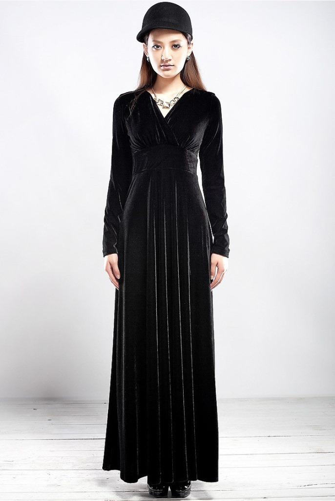 Fashion-Winter-Autumn-Dress-Elegant-Women-039-s-Velvet-Long-sleeve-V-neck-Maxi-Dress