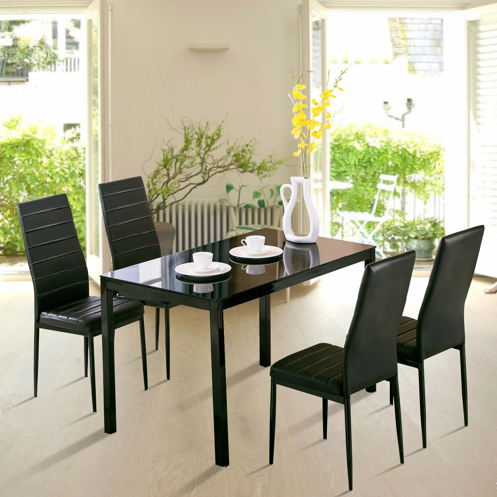Glass Table Dining Set: 5 Piece Dining Table Set 4 Chairs Glass Metal Kitchen Room