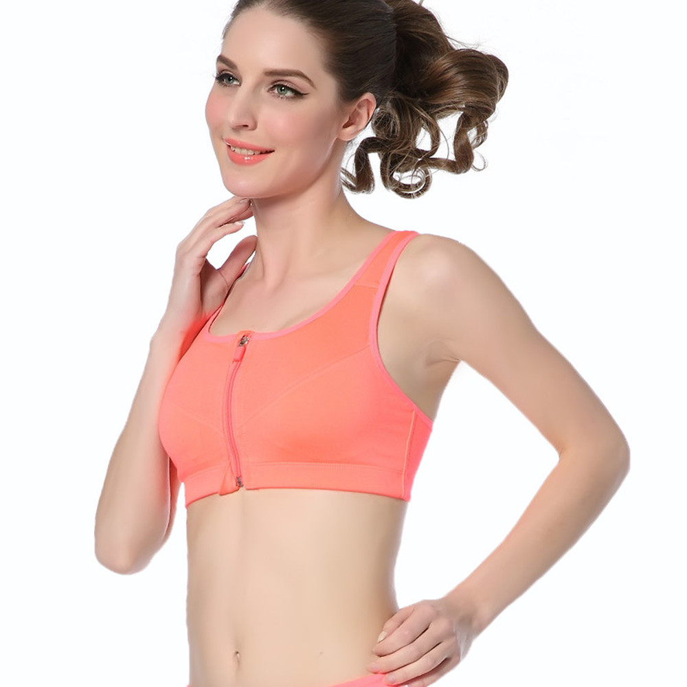 Women Seamless Yoga Sports Zip Bra Crop Top Stretch Bras ...