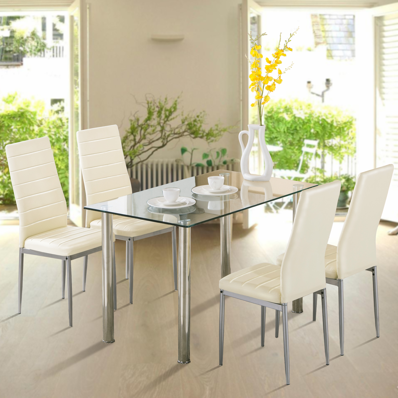 Glass Dining Table Set: 5 Piece Dining Table Set 4 Chairs Glass Metal Kitchen Room