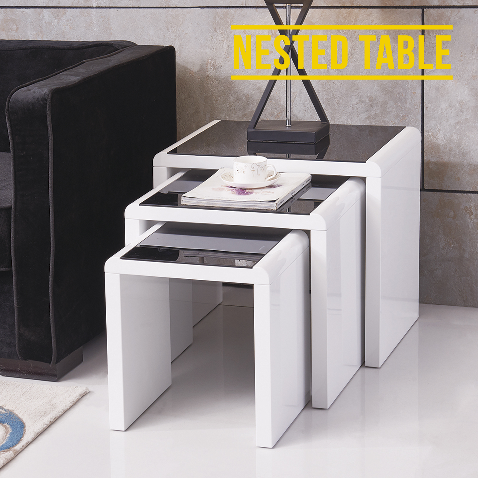 Black Coffee Table Nest: Design High Gloss White + Black Glass Nest Of 3 Coffee