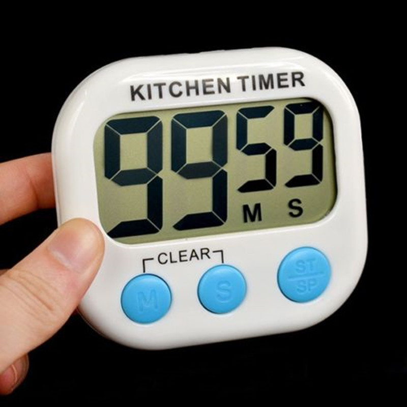LCD Digital Kitchen Timer Magnetic Cooking Large Count