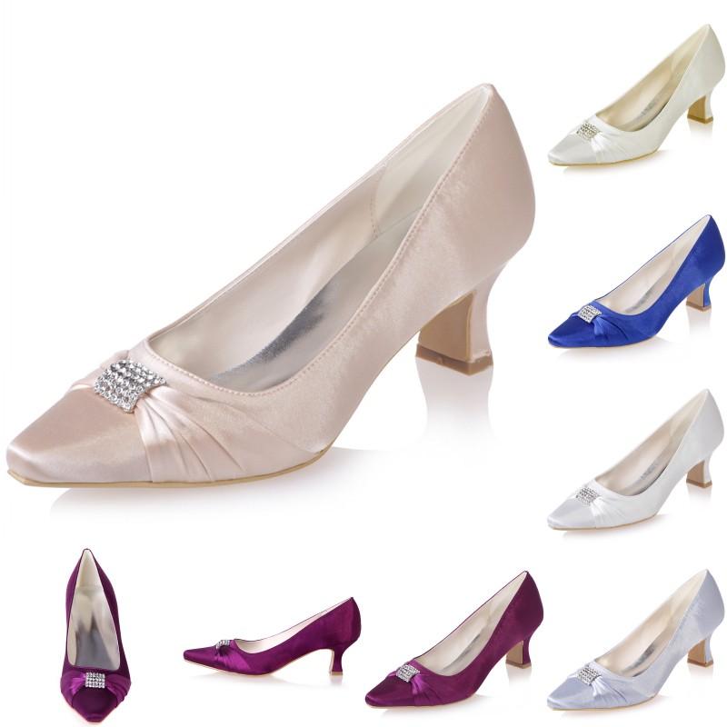 Elegant Crystal Satin Women Wedding Bridal Shoes Work