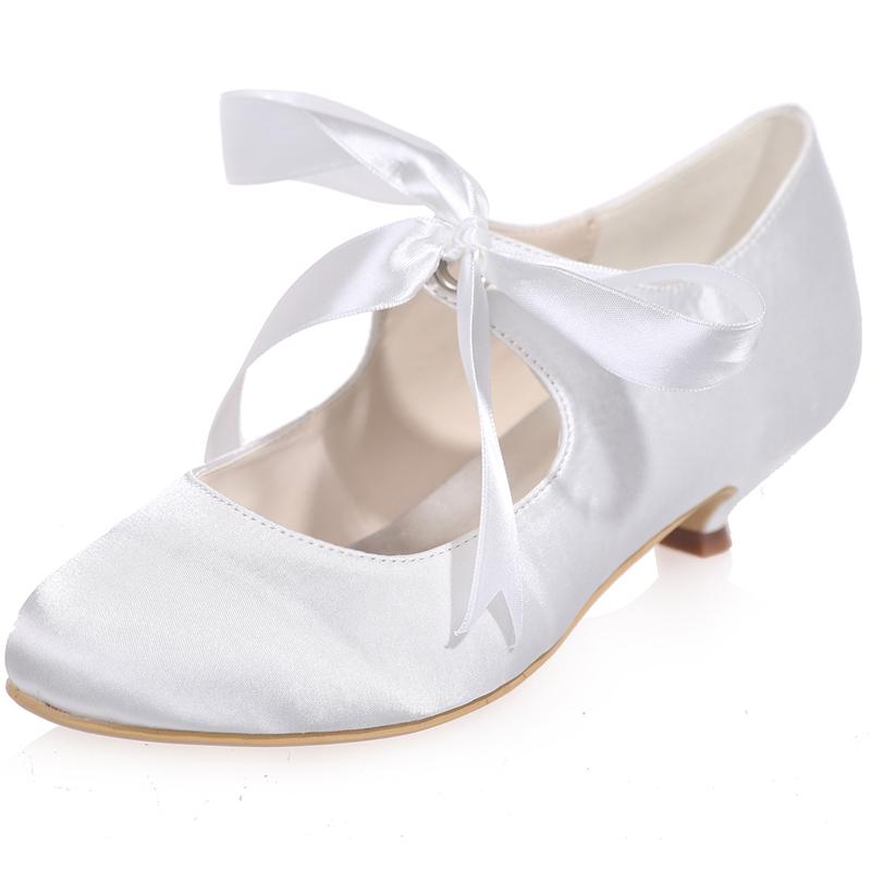 Vintage Ladies Bridal Party Shoes Wedding Low Kitten Heel Mary Jane Satin Ribbon