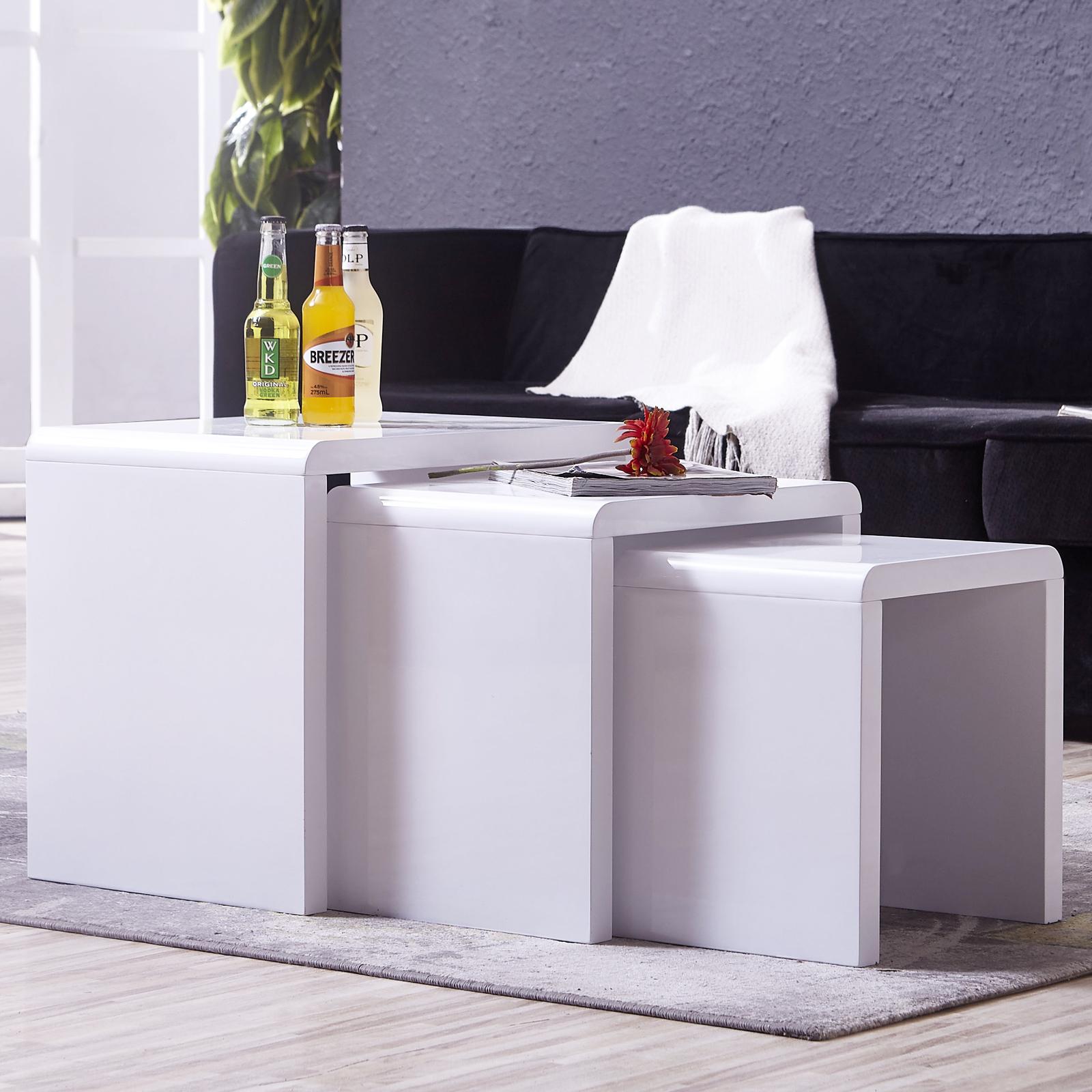 Modern Design High Gloss White White Glass Nest Of 3: High Gloss White Solid Nest Of 3 Coffee Tables MDF