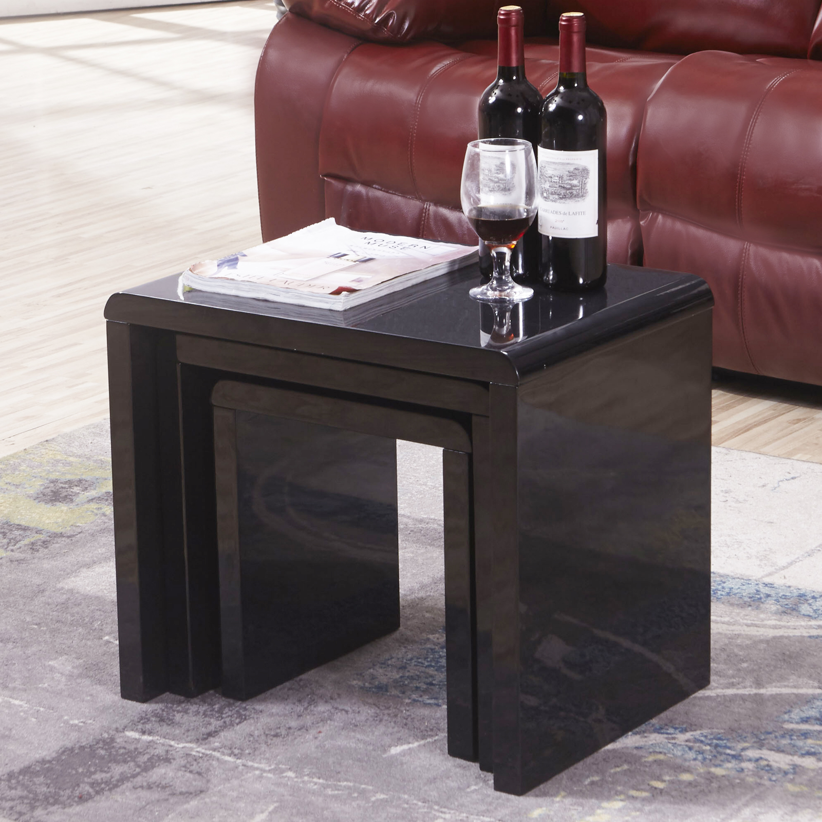 Black Coffee Table Nest: New Modern Design High Gloss Black Nest Of 3 Coffee Table