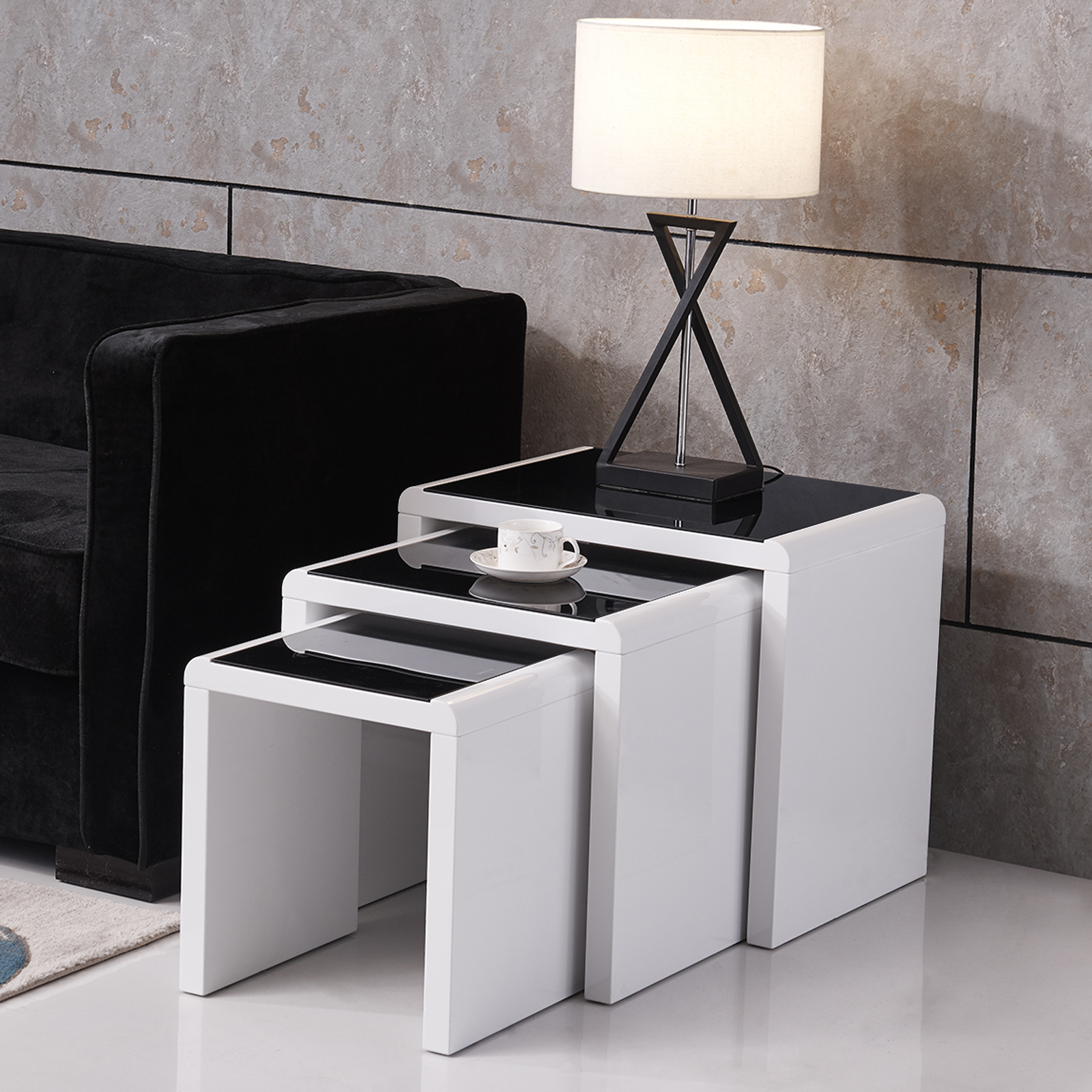 Modern design high gloss white black glass nest of 3 for Modern nesting coffee tables