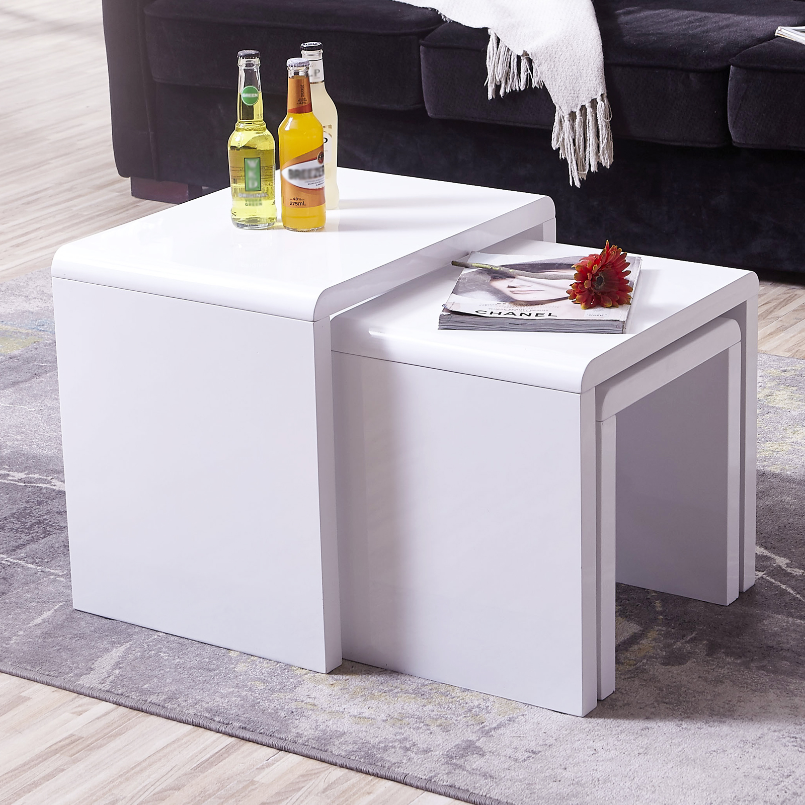 High Gloss 3 Side Nested Of Tables White Set Coffee Table: High Gloss White Solid Nest Of 3 Coffee Tables MDF