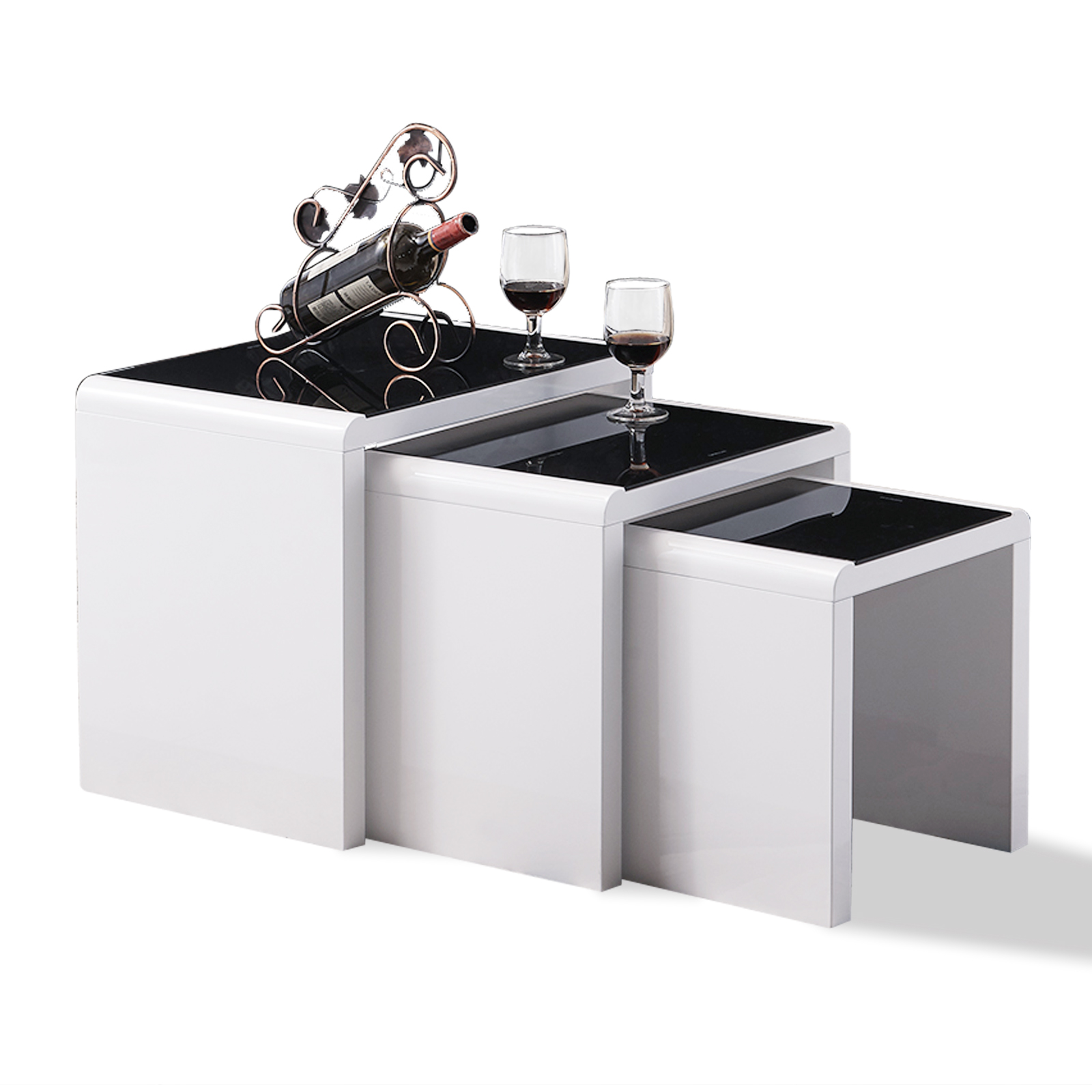 Modern Design White High Gloss Nest Of 3 Coffee Table Side: BN Modern Design High Gloss White+Black Glass Nest Of 3