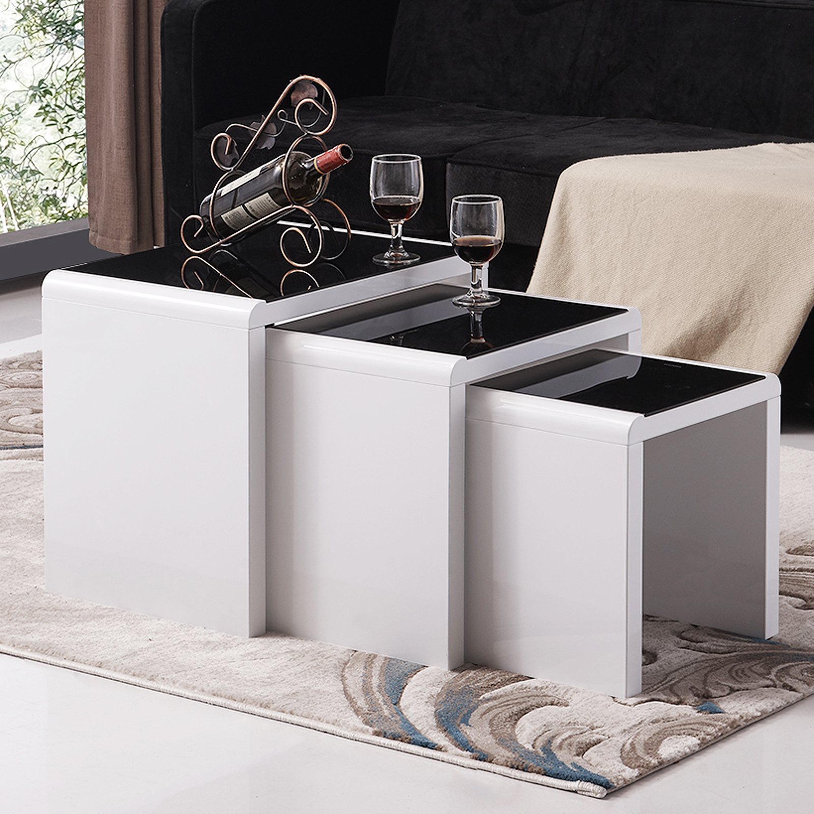 High Gloss White Coffee Table Round Angle Black Glass Top: Nest Of 3 Coffee Table White & Black Glass Modern Design