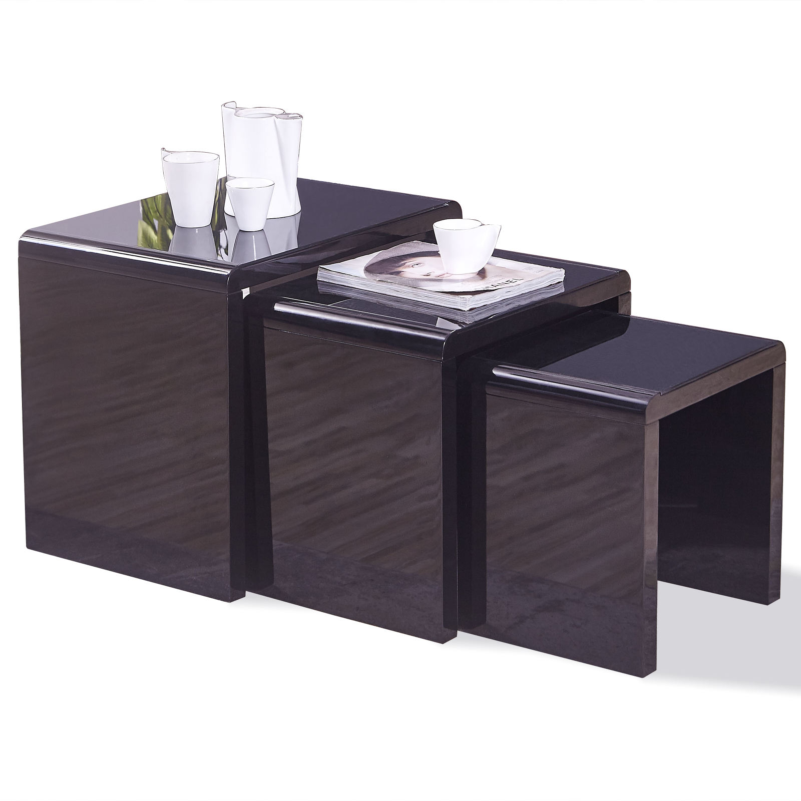 appealing black glass coffee table living room | New Design High Gloss Black + Black Glass Nest of 3 Coffee ...