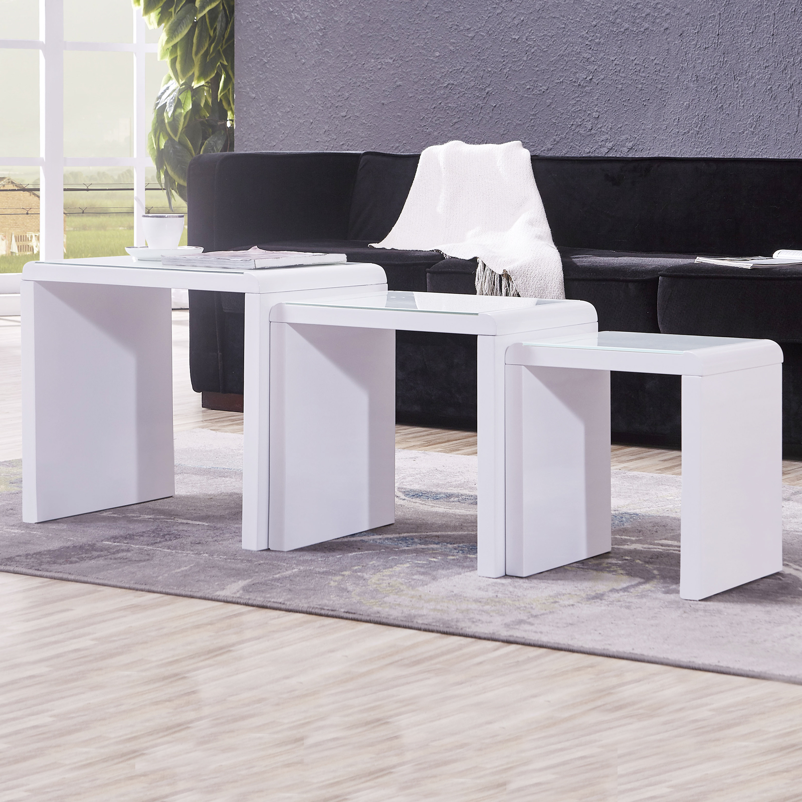 New Modern High Gloss White Rectangle Coffee Table Living: Modern Design High Gloss White + White Glass Nest Of 3