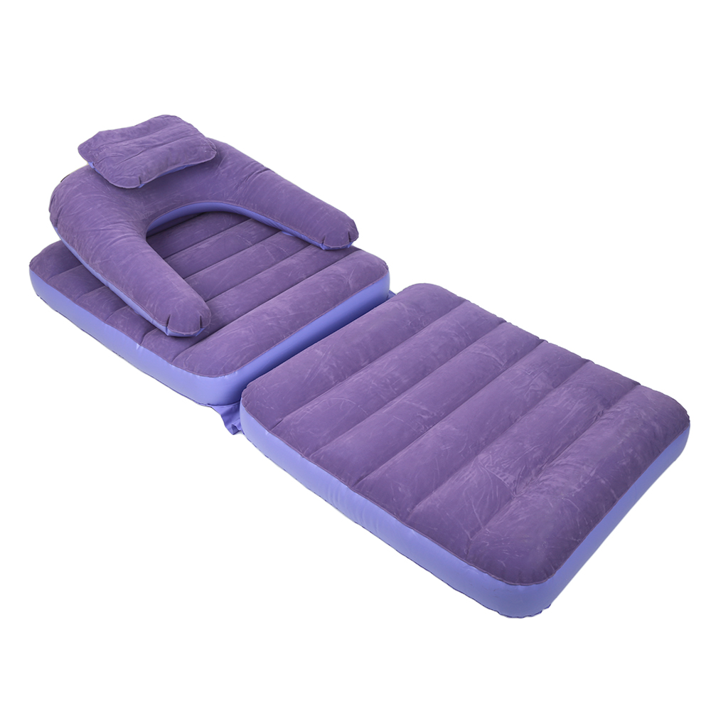 Purple Inflatable Pull Out Sofa Couch Single Air Bed