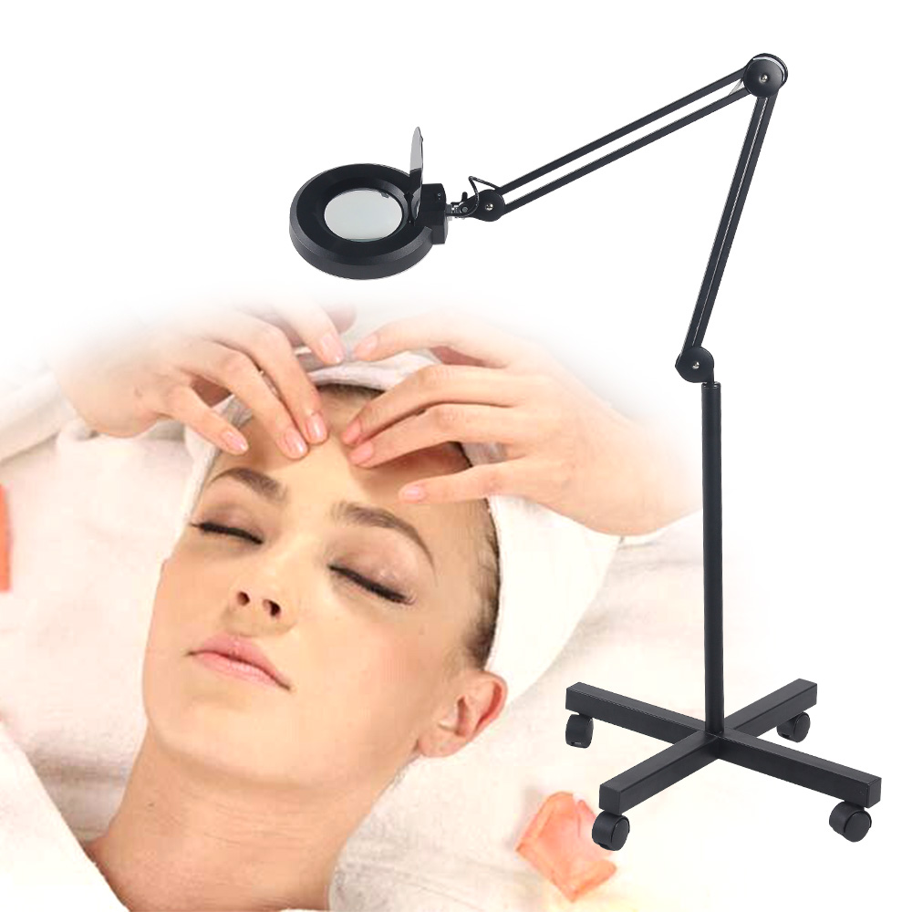 lupenlampe 5 dioptrien lupe kaltlicht lupenleuchte auf stativ kosmetik schwarz ebay. Black Bedroom Furniture Sets. Home Design Ideas