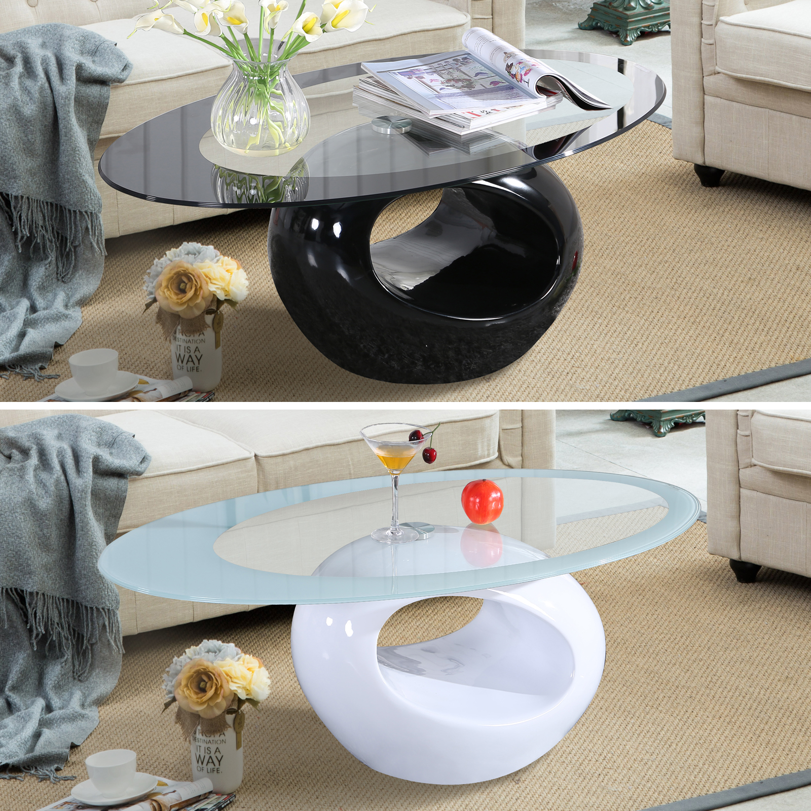Oval Coffee Table Modern: Glass Oval Coffee Table Contemporary Modern Design Living