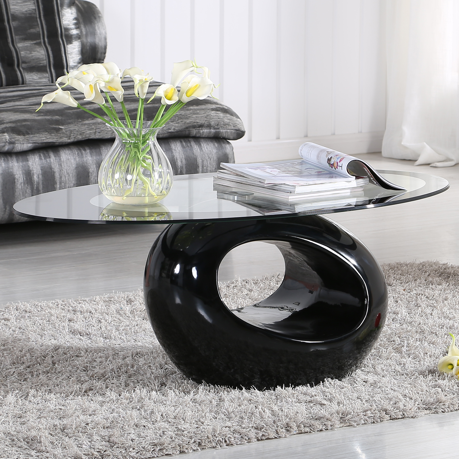 fabulous 1312 tea table living room furniture tempered glass | Modern Glass Oval Coffee Table Contemporary Modern Design ...