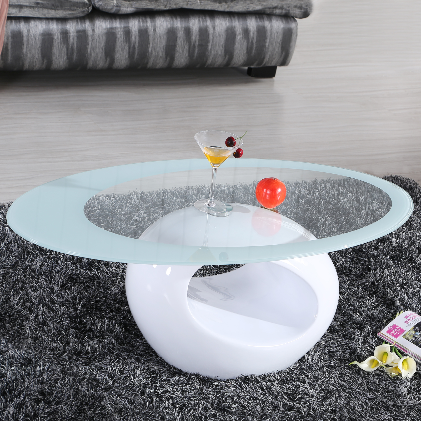 Oval Glass Coffee Table 3 Piece Set Furniture Home Decor: Glass Oval Coffee Table Contemporary Modern Design Living