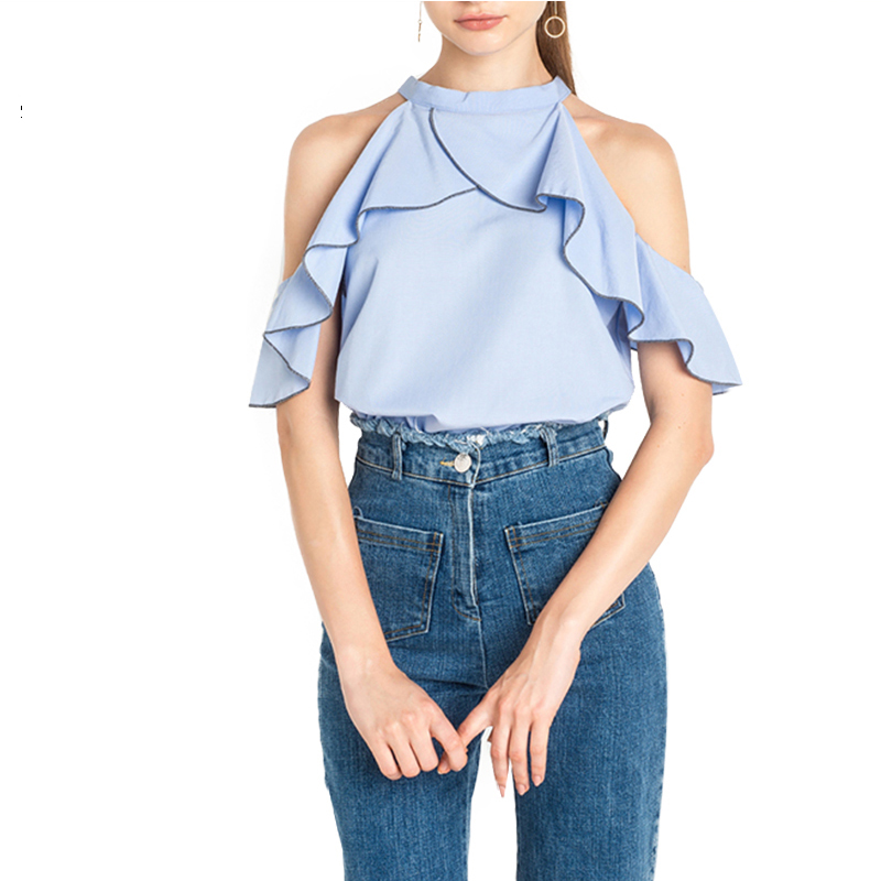 Womens blue ruffle frill short sleeve t shirt cold for Frill sleeve t shirt