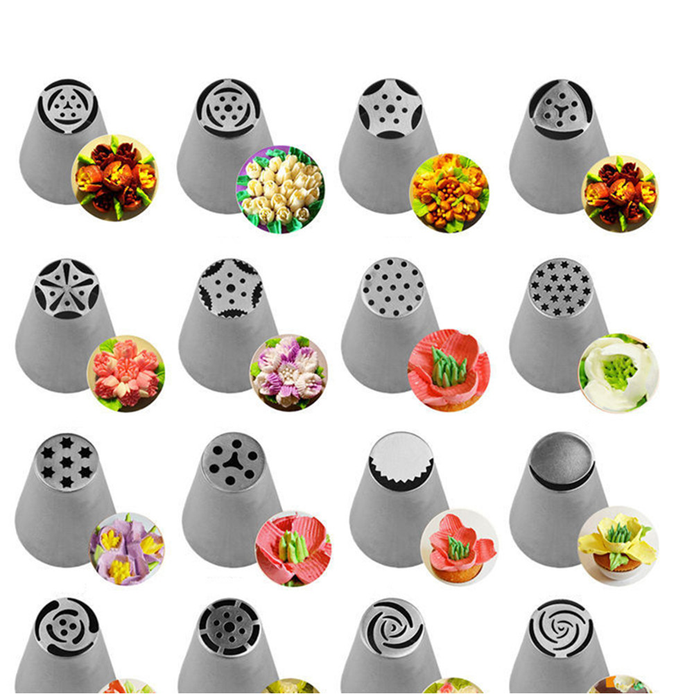 56 Pcs Russian Flower Icing Piping Nozzles Cake Decoration ...